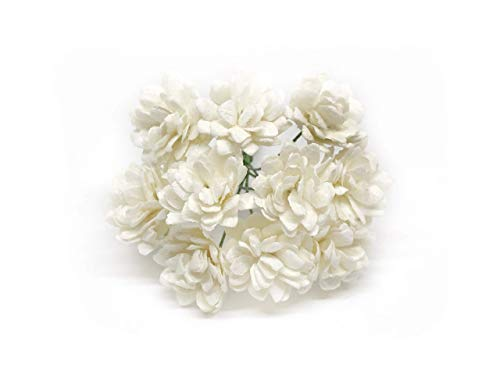 Savvi Jewels 2cm White Mulberry Paper Flowers with Wire Stems, Babys Breath Flowers, Mini Paper Flowers, Gypsophila Wedding Decoration Craft Flowers 50 Pieces from Savvi Jewels