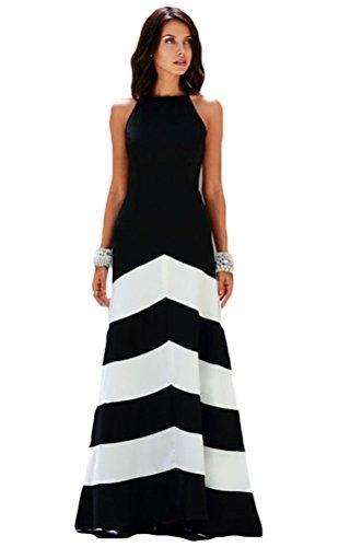 Bluetime Women's Elegant Stripe Sleeveless Coctail Party Long Maxi Halter Dress