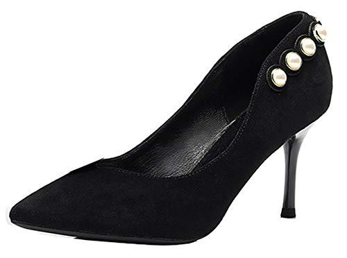 Femme Easemax d'automne Chaussure EU Noir Aiguille 35 Perles Elégant Talon Escarpins Oqdwp1gxd