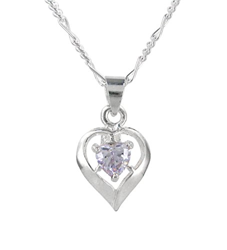 Sterling Silver Heart Solitaire Crystal Necklace, June Lavender/Lt Blue, (Solid Sterling Silver Heart Solitaire)