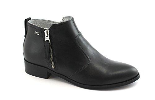 Nero Giardini Black GARDENS 05022 Schwarze Schuhe Stiefel Seitlichem Reißverschluss Frau Nero