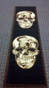 Area Rug Runner 2 Ft. X 7 Ft. 3 In. Skull Black/brown Design #134