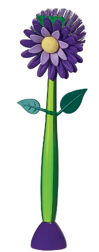 Boston Warehouse Flower Garden Standing Kitchen Brush, Plum (Boston Dish Brush)