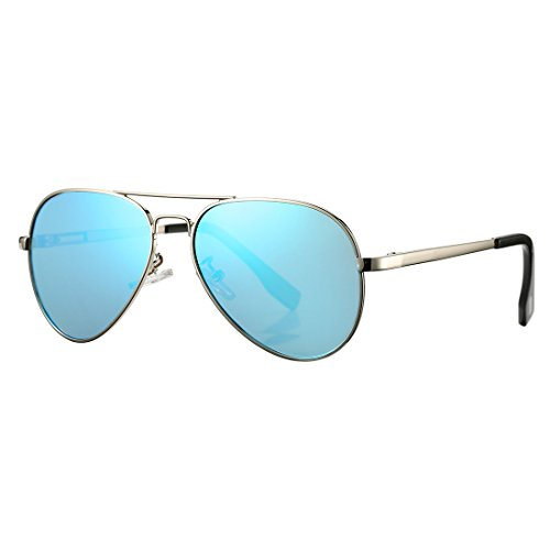 Polarized Aviator Sunglasses for Juniors Small Face Women Men Vintage UV400 Protection Shades(Silver Frame/Blue Mirrored ()