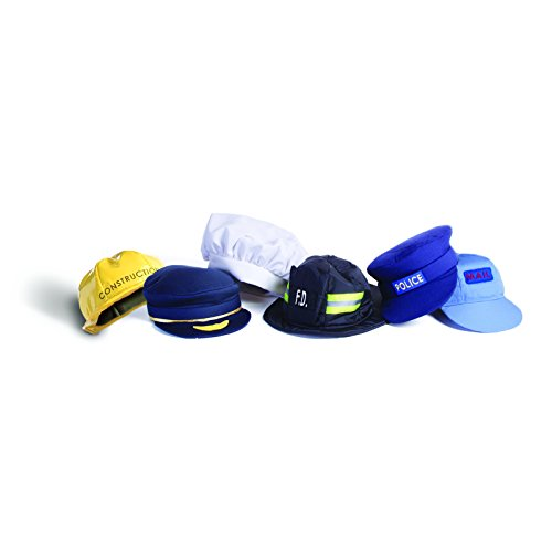 [Brand New World Community Helper Dramatic Dress Ups Hat Collection - Set of 6] (Man Construction Worker Costume)