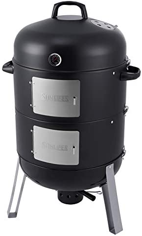 SUNLIFER 20.5 Inch Vertical Charcoal Smoker and Grill Combo, Heavy-Duty BBQ Smokers for Outdoor Cooking Camping