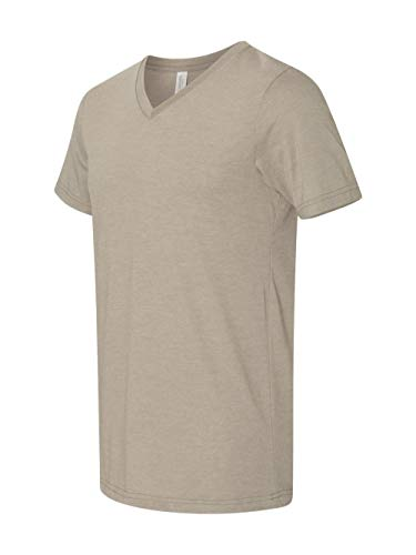 Heather Stone - CN ADULT 4.3 OZ RS CTTN V-NECK, HEATHER STONE, S
