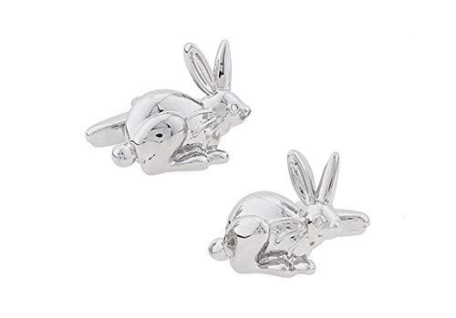 AMDXD Brass Cufflinks for Men Silver Rabbit Shirt Cufflinks Cufflink Men 21x18MM