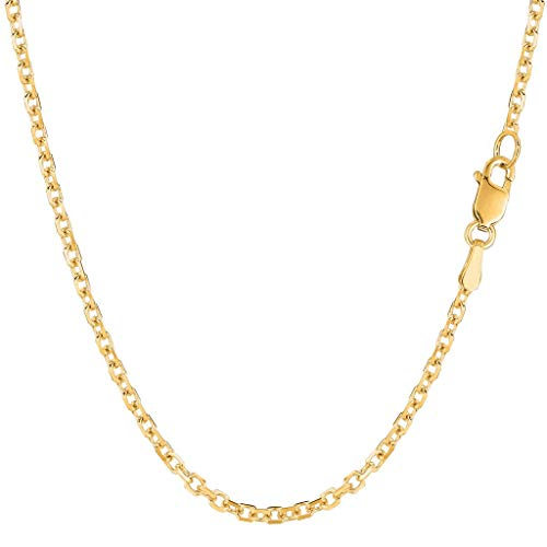 14K Yellow or White Gold 2.3mm Shiny Diamond Cut Cable Link Chain Necklace for Pendants and Charms with Lobster-Claw Clasp (16