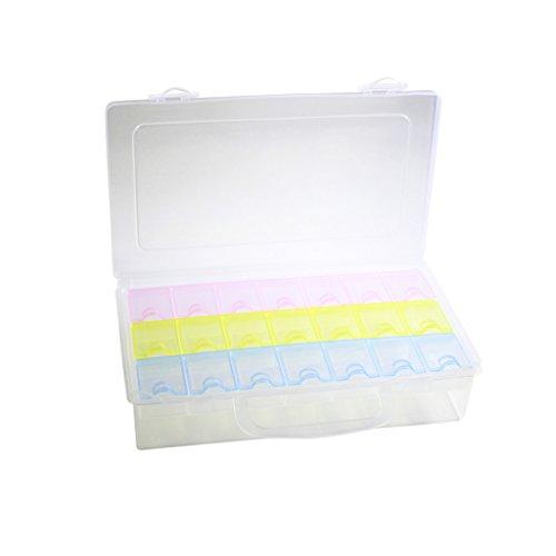 Kunststoff Aufbewahrungsbox mit zwei Etagen und abnehmbaren farbigen Fächern mit Deckeln von Kurtzy TM