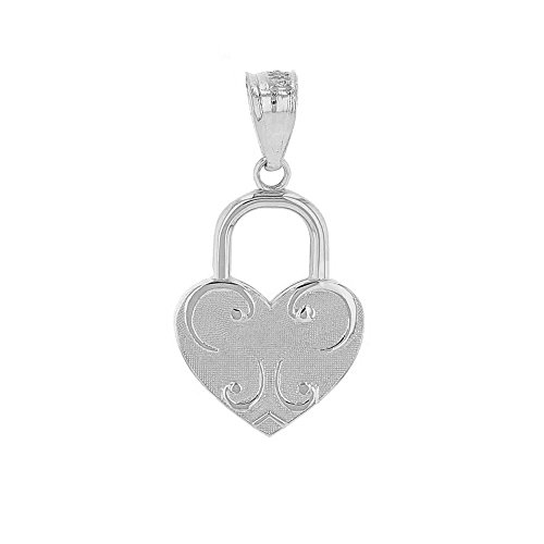 (Claddagh Gold 925 Sterling Silver Swirl Heart Shaped Love Padlock Charm Pendant)