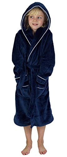 Fleece Dressing Gown Kids Towelling Robe Boys Bathrobe Plush Super Soft 5754fa6ed