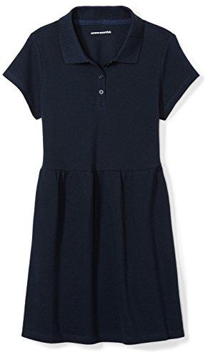 Amazon Essentials Big Girls' Short-Sleeve Polo Dress, Navy, XL (12)