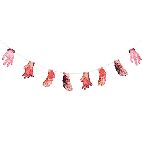 Hakazhi Inc Party DIY Decorations - Hanging Blood Hand Foot Skull for Halloween Party Decor Party Scary DIY Decor Halloween Horror Props Scary Haunted House Decor (Style2) ()