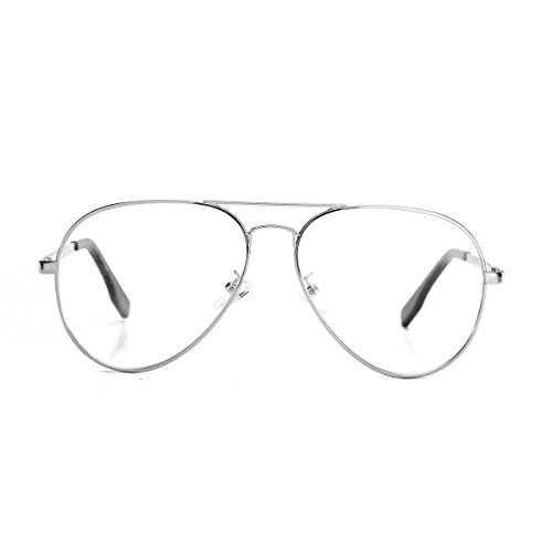 AZORB Aviator Non-prescription Clear Lens Eyeglasses Classic Retro Metal Frame (Silver, - Without Eyeglasses Lenses Prescription
