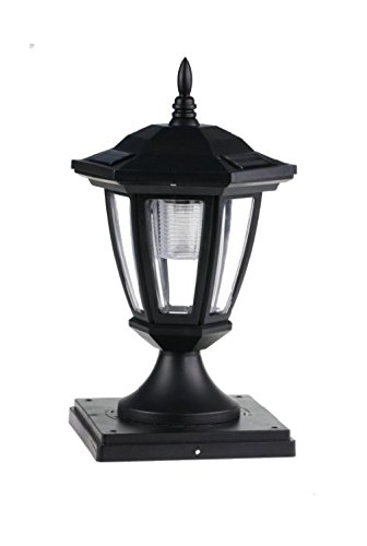 2-Pk Solar Hexagon Light w/ Fence Post Cap 6inch x 6inch universal. Finish: Black. LED: Soft White