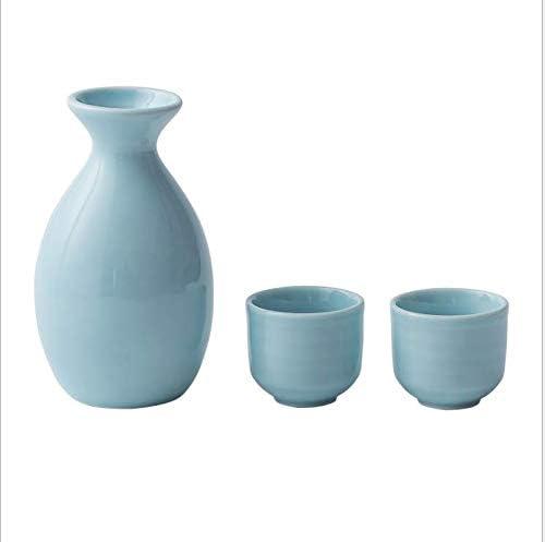 Japanese ceramic sake pot and glass wine set