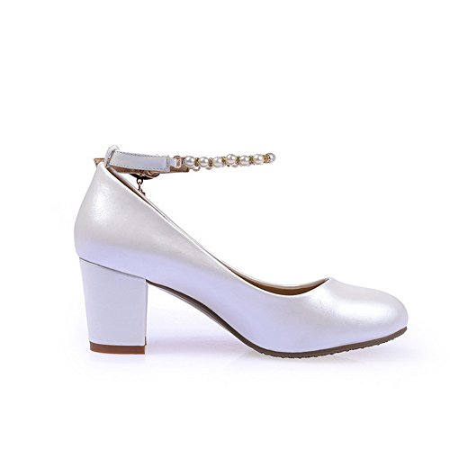 Amoonyfashion Femmes Pu Pu Chaussures À Bout Rond Talon-chaussures Blanches
