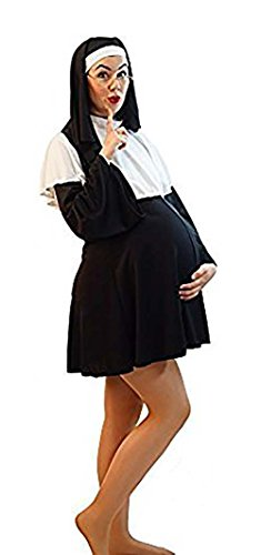 CL COSTUMES Halloween-Panto-Stage-Hen Party Pregnant Nun Ladies Fancy