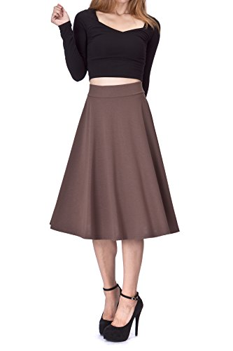 Beautiful Flowing A-Line Flared Swing Midi Skirt (S, Brown)