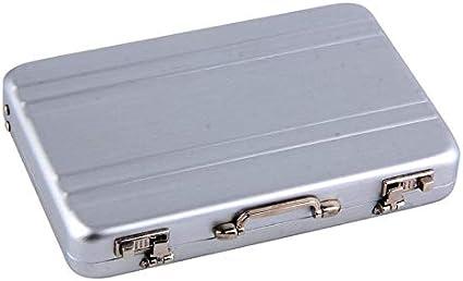 1pc Mini Metálico Maletín Tarjeta de visita Estuche ID Titulares Contraseña Color plateado Caja de crédito de aluminio Caja popular - Plata: Amazon.es: Oficina y papelería