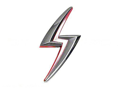Nissan 65892-85F00 Lightning Bolt Hood Emblem, Charcoal/Red