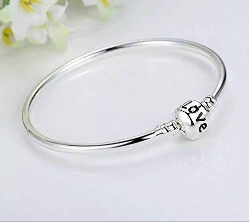 Love Stamped Silver 925 Plated 7.0 cm Bangle Bracelet