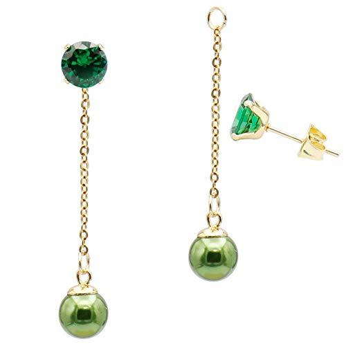 Fashion Green Pearl Ball Drop Dangle Earrings with Chain for Women Girl Hypoallergenic Cubic Zirconia Stud Earring Jacket Enhancers