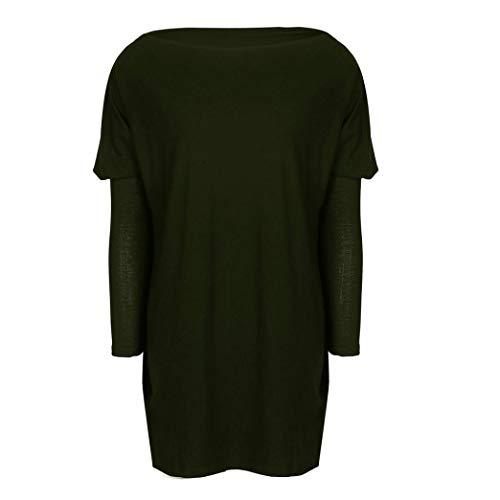 Shirt Tops Mini Haut Arme Verte Vrac Rond Manches Blouses Chemisier Col en Longues Longues Chemise Sixcup Pure Robe Couleur A Line T xYUBnwwqd4