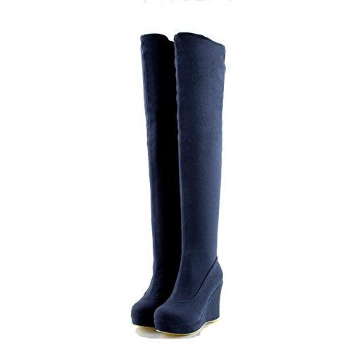 AllhqFashion Damen Rein Hoher Absatz Ziehen auf Rund Zehe Stiefel Blau