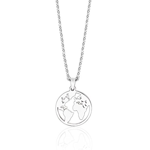 Anlive World Map Necklace Mother Earth Necklace Long Distance Travel Gift -