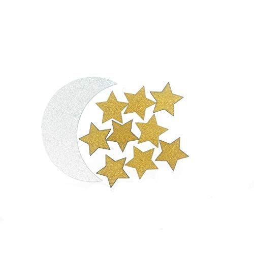 Moon Decorations Stars (TooMeeCrafts Double Sided Silver Crescent Moon and Gold Star Twinkle Twinkle Little Star Party Decoration DIY Shaped Baby Shower or Birthday Party Pack of 48)