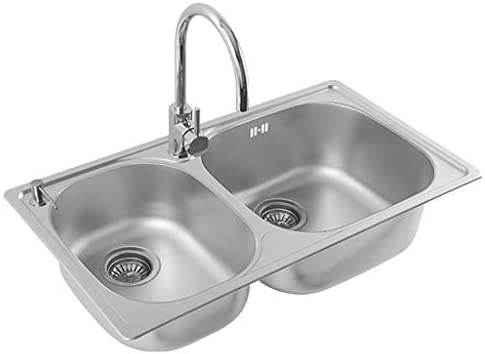Kitchen Sinks Kitchen Sink Built In Sink Reversible Kitchen Sink Stainless Steel Sink Double Bowl Sink Thickened Sink Color Silver Size 79 43 18 5cm Buy Online At Best Price In Uae Amazon Ae
