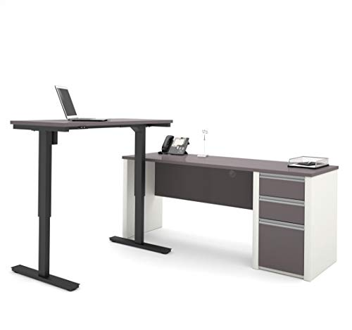 Bestar Connexion L-Desk Including Electric Height Adjustable Table, Slate/Sandstone
