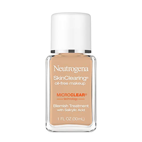Neutrogena SkinClearing Oil-Free Acne and Blemish Fighting Liquid Foundation with Salicylic Acid Acne Medicine, Shine Controlling, for Acne Prone Skin, 115 Cocoa, 1 fl. oz