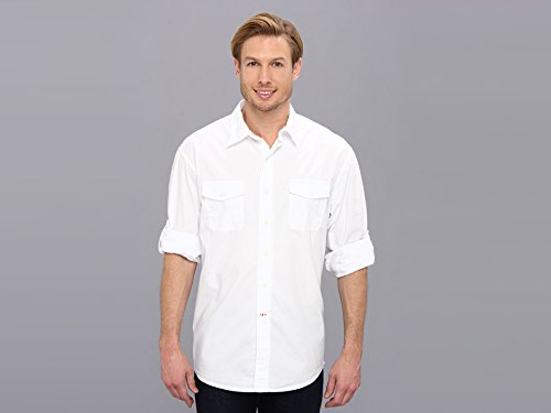 IZOD Men's Roll-Up Sleeve Paper Touch Solid Button-Down, Bright White, X-Large
