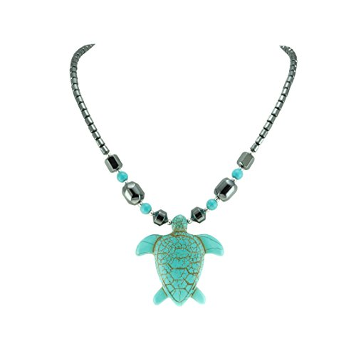 BlueRica Turquoise Sea Turtle Pendant on Hematite Beads Necklace