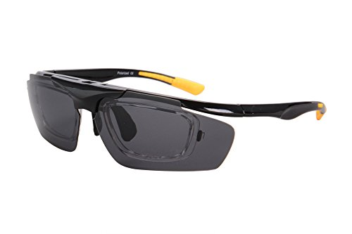 SHINU Outdoor Sports Windproof Cover-Up Eye Protection Goggles-Can Install Prescription Lenses Inside-D006(black ane yellow frame, grey - Snowboarding Sunglasses Prescription