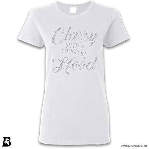 'Rhinestone - Classy with A Touch of Hood' Premium Ladies T-Shirt (White, Ladies 2XL)
