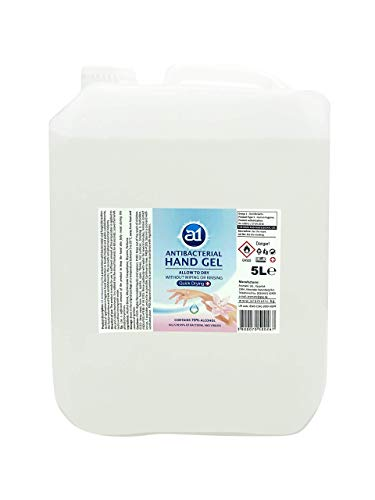 Antibacterial Hand Gel Sanitiser 5L, Antibacterial Hand Sanitizing Gel,kill 99.99% of Germs with 70% Alcohol