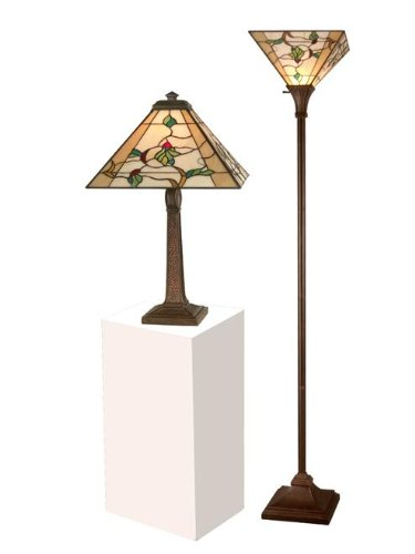 Dale Tiffany TC11174 Green Leaves Table Lamp and Torchiere Lamp Set, Antique Bronze and Verde
