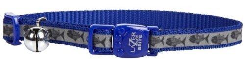 Lazer Brite Reflective Collar - Blue Fish Bone - 3/8 x 8-12 inch
