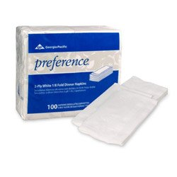 Georgia Pacific Professional 31436CT 1/8 Fold Dinner Napkins, 15 x 16, White, 100 Napkins per Pack (Case of 30 Packs)