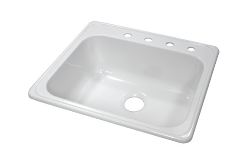 22' White Bowl (Lyons Industries DKS01X4 White 25-Inch by 22-Inch Single Bowl Acrylic 9-Inch Deep Kitchen Sink with Four Faucet Holes)