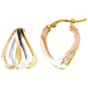 So Chic Bijoux © Boucles d'oreilles Femme Créoles Tricolores Forme V Double Torsadées Fil Carré Or Jaune Blanc & Rose 750/000 (18 carats)