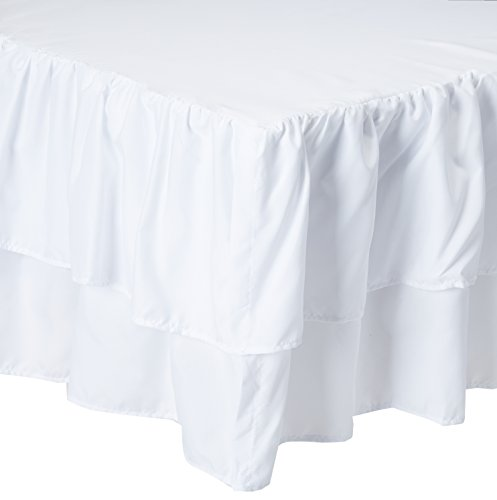 (American Baby Company Double Layer Ruffled Crib Skirt, White, for Boys and Girls)