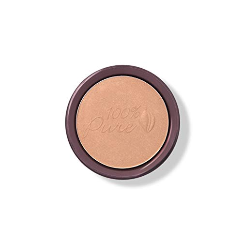 100 PURE Cocoa Pigmented Bronzer, Cocoa Gem, Bronzer Powder for Face, Contour Makeup, Soft Shimmer, Sun Kissed Glow Light Peachy Brown w Golden Undertones – 0.32 Oz