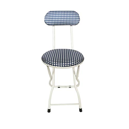 Wood Grain Silver Legs Sit High 45CM Back Folding Chair Portable Outdoor Adult Folding Stool Dining Chair Computer Chair Stool Home Stool,3 Color Optional (Size : Lattice) ()