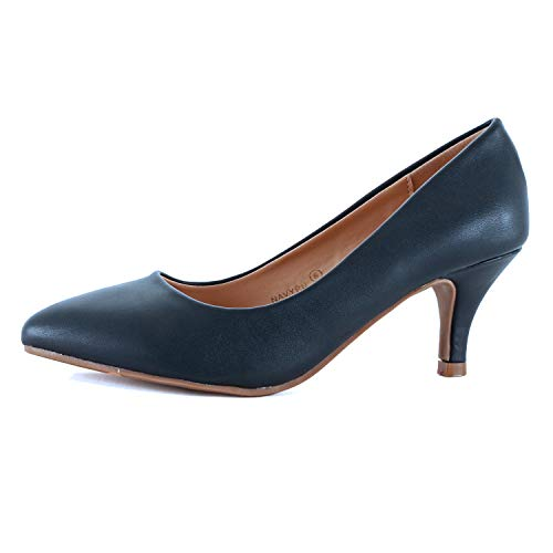 - Guilty Heart | Womens Classic Pointy Toe Low Kitten Heel | Office Dress Slip On Fashion Pump | 22 Colors (9 M US, Navy Pu)