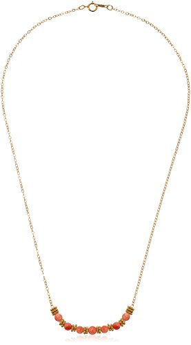 Gold Over Silver with Coral Accent Beads Chain Necklace, 18